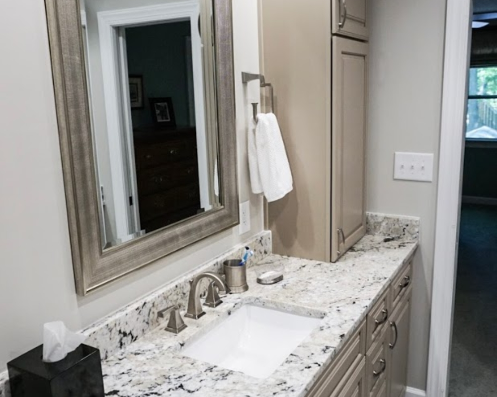 Under Mounted Sink In Granite Counter Top In Bathroom Vanity Apex NC