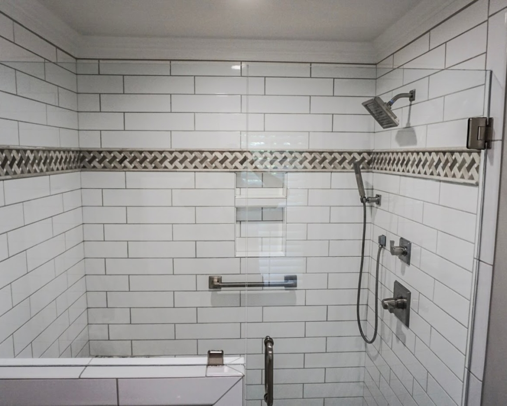 Tile Shower Surround With Frameless Glass Door