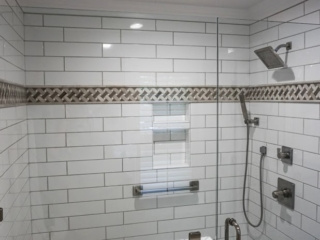 Custom Tile Shower Completed By Branch Home Improvement in Apex, North Carolina.